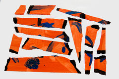 Painted Masking Tape. A set of orange abstract-style painted masking tape pieces Stock Photo