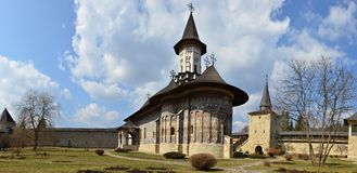 Painted monasteries of Bucovina: Sucevita panorama Stock Images