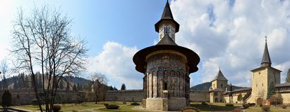 Painted monasteries of Bucovina: Sucevita panorama Stock Photo