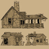 Painted monochrome sketches of destroyed stone houses Stock Images