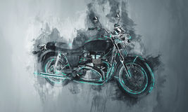 Painted motorcycle bike in gray Royalty Free Stock Photography