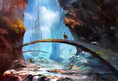 Painted mountain landscape with a castle and a traveler vector illustration