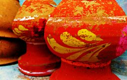 Painted Mud Pots royalty free stock photos