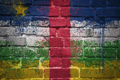 Painted national flag of central african republic on a brick wall Royalty Free Stock Images