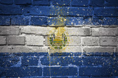 Painted national flag of el salvador on a brick wall Royalty Free Stock Photos
