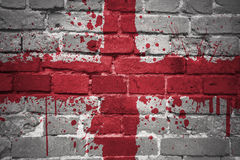Painted national flag of england on a brick wall Stock Image
