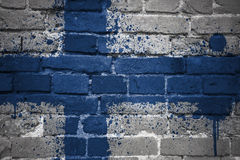 Painted national flag of finland on a brick wall Royalty Free Stock Image