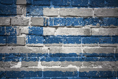 Painted national flag of greece on a brick wall Royalty Free Stock Photo