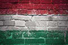 Painted national flag of hungary on a brick wall Royalty Free Stock Photo