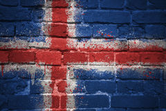 Painted national flag of iceland on a brick wall Stock Photography