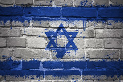Painted national flag of israel on a brick wall Royalty Free Stock Photo