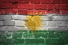 Painted national flag of kurdistan on a brick wall Royalty Free Stock Image