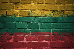 Painted national flag of lithuania on a brick wall Royalty Free Stock Photography