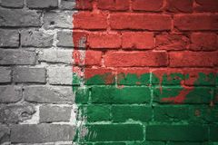 Painted national flag of madagascar on a brick wall Royalty Free Stock Photo