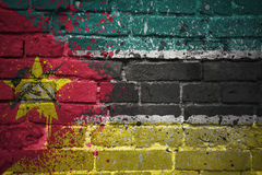 Painted national flag of mozambique on a brick wall Stock Photography