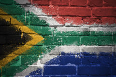 Painted national flag of south africa on a brick wall Royalty Free Stock Photos