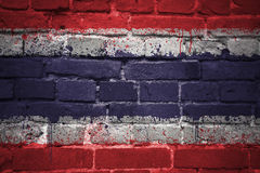 Painted national flag of thailand on a brick wall stock photo