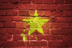 Painted national flag of vietnam on a brick wall Royalty Free Stock Image
