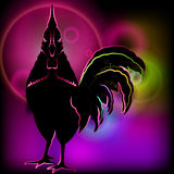 Painted neon rooster. Glowing shining black silhouette on sparkling background. Stock Image