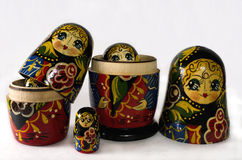 Painted Nesting Doll. Five tiered Russian nesting doll Stock Image