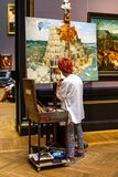 Painting lesson at Vienna Fine Arts Museum Stock Image