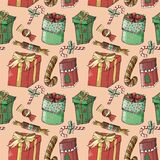 Painted new year seamless pattern royalty free illustration