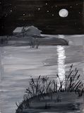 Painted night landscape. Black and white painted portrait of a full moon and stars shining on water, with land visible in the foreground Stock Image