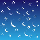 Painted night with moon and stars Royalty Free Stock Photography
