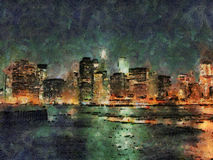 Painted night view of Manhattan, New York, USA Stock Photography