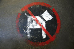 Painted no dogs sign on the street ground Stock Photo