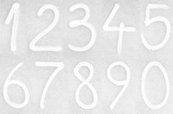 Painted numbers. White numbers from zero to nine painted on glass Stock Photos
