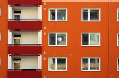 Painted orange building Stock Photo