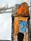 Children painted home on white paper royalty free stock images