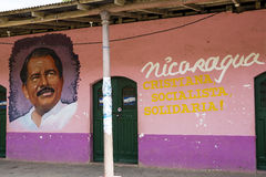 The painted ortrait of Daniel Ortega in Nicaragua Royalty Free Stock Photo