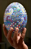 PAINTED OSTRICH EGG. Close up of painted ostrich egg Stock Images