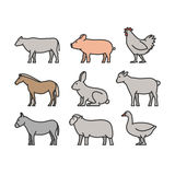 Painted outline figures of farm animals Stock Photo