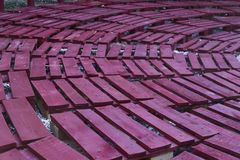 Painted pallets well arranged as seats Stock Image