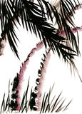 Painted palm trees in the style of Wu Xing Royalty Free Stock Image