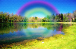 Painted Paradise. Computer generated paradise at a beautiful pond with a rainbow Stock Photography
