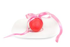 Painted Pastel egg on the plate with bow Stock Images