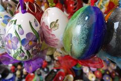 Colorful Ceramic Easter Eggs at the Market royalty free stock photography