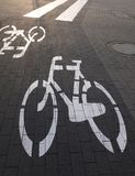 Bicycle path pedestrian crossing Stock Images