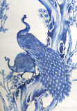 Painted Peacocks. Blue peacocks painted on an antique family heirloom royalty free stock photo