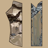 Painted pieces of elements from brown and gray stone Royalty Free Stock Photos