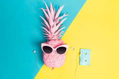 Painted pineapple with sunglasses. On a vibrant duotone background Royalty Free Stock Photos