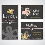 Painted Pink and Gold flowers. set of Backgrounds. Vector template. Stock Photography