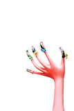 Painted with pink hand model Royalty Free Stock Image