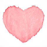 Painted pink heart. Painted heart on white background Stock Illustration