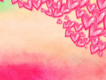 Painted Pink Watercolor Love Heart Background vector illustration