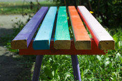 Painted planks. Painted in different colors close-up plank benches Royalty Free Stock Image